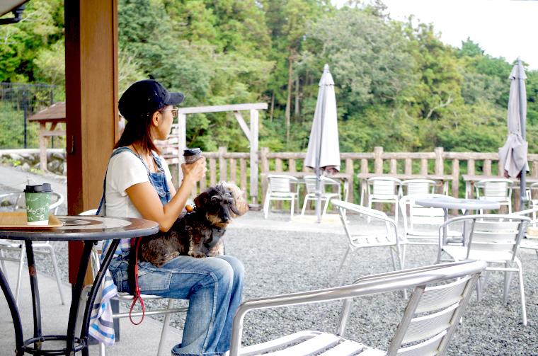 Taki Cafe OTOさんで緑の景色を眺めながらワンコと一緒にカフェタイム。
