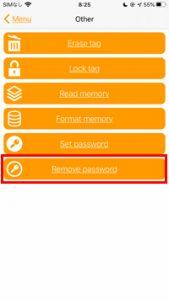 NFC迷子札の使い方 iPhone版 パスワードを解除する